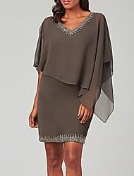 cheap -Sheath / Column Mother of the Bride Dress Elegant V Neck Short / Mini Chiffon Polyester 3/4 Length Sleeve with Beading Sequin 2020