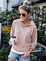 cheap -Women's Sweatshirt Solid Colored Peter Pan Collar Basic Slim Blushing Pink S M L XL