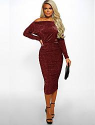 cheap -Women's Sheath Dress - Solid Color Black Yellow Red S M L XL