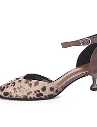 cheap -Women's Heels Stiletto Heel Pointed Toe Suede Spring & Summer Brown / Khaki / Leopard / Daily / 3-4
