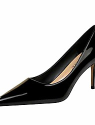 cheap -Women's Heels Stiletto Heel Closed Toe Faux Leather Casual / Minimalism Spring / Summer Black / Almond / Nude