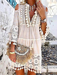 cheap -Women's Boho Holiday Vacation Beach Casual Boho Shift Dress - Solid Colored Lace Tassel Fringe Deep V Spring & Summer Yellow Orange Blue S M L XL
