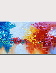 cheap -Handmade Oil Painting on Canvas Blue and Red Abstract Landscape Wall Art Lake Scenery Artwork