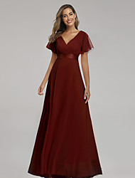 cheap -A-Line Empire Elegant Party Wear Formal Evening Dress V Neck Short Sleeve Floor Length Chiffon with Ruched Ruffles 2021