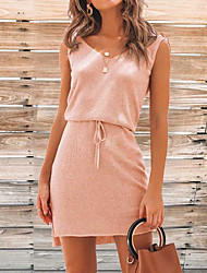 cheap -Women's Sheath Dress - Solid Color Blushing Pink Royal Blue Black S M L XL