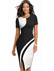 cheap -Women's Red Black Dress Daily Bodycon Color Block Black & Red Black & White Patchwork S M / Cotton