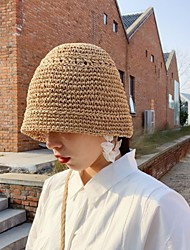 Недорогие -Жен. Классический Шляпа от солнца Солома,Однотонный Оранжевый Зеленый Черный
