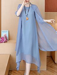 cheap -Women's A Line Dress - Solid Color White Blushing Pink Blue M L XL XXL