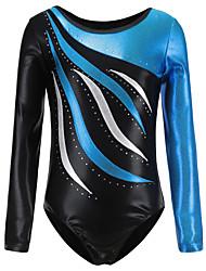 cheap -21Grams Gymnastics Leotards Women's Girls' Kids Leotard Spandex High Elasticity Breathable Handmade Long Sleeve Training Dance Rhythmic Gymnastics Artistic Gymnastics Blue