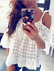 cheap -Women's Solid Colored Lace Embroidery Hollow Blouse - Lace Daily Strap White