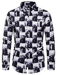 cheap -Men's Party Club Rock / Street chic Shirt - Abstract / Check Black & White / Black & Gray, Print White