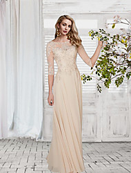 cheap -A-Line Illusion Neck Floor Length Chiffon / Lace Elegant / White Wedding Guest / Formal Evening Dress with Appliques 2020