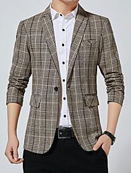 cheap -Men's Blazer Shawl Lapel Polyester Black / Gray / Khaki