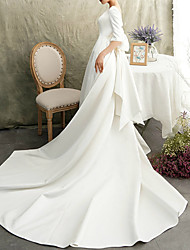 cheap -A-Line Bateau Neck Watteau Train Satin Half Sleeve Formal / Vintage Elegant Wedding Dresses with Bow(s) 2020