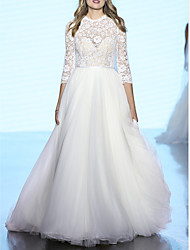 cheap -A-Line Jewel Neck Sweep / Brush Train Polyester / Tulle 3/4 Length Sleeve Country / Boho Plus Size Wedding Dresses with Draping / Appliques 2020
