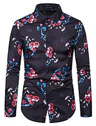 cheap -Men's Party Club Elegant / Chinoiserie Shirt - Geometric / Graphic Black & Red, Print Black