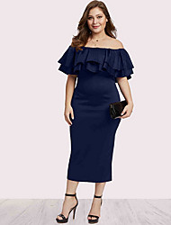 cheap -Women's Wine Black Dress Sheath Solid Color Off Shoulder L XL