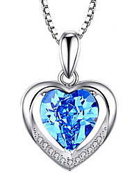 cheap -Women's Pendant Necklace Charm Necklace Heart Precious Fashion Zircon Copper Silver Plated Blushing Pink Blue 45 cm Necklace Jewelry 1pc For Christmas Wedding Party Evening Formal Festival