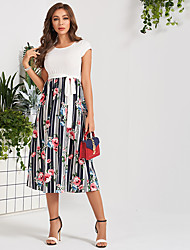 cheap -Women's Daily Work Casual Active A Maxi Line Dress - Color Block White S M L XL
