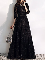 cheap -A-Line Jewel Neck Floor Length Tulle / Sequined Glittering / Black Prom / Formal Evening Dress with Sequin / Embroidery 2020