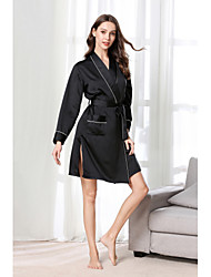 cheap -Women's Cut Out / Mesh Chemises & Gowns / Robes / Satin & Silk Nightwear Jacquard / Solid Colored Blushing Pink Green Black S M L