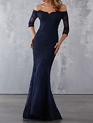 cheap -Mermaid / Trumpet Elegant Blue Wedding Guest Formal Evening Dress Off Shoulder Half Sleeve Sweep / Brush Train Lace with Beading Lace Insert Appliques 2020