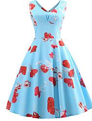 cheap -Women's Blue Dress A Line Floral V Neck S M