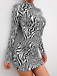 cheap -Women's Mini Black Dress Sheath Striped Turtleneck S M Slim