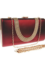 cheap -Women's Bags PU Leather Polyester Evening Bag Crystals Chain Solid Color Wedding Bags Wedding Party Event / Party Wine White Black Purple