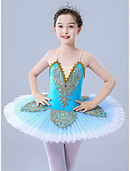 cheap -Ballet Leotard / Onesie Scattered Bead Floral Motif Style Pleats Pearls Girls' Training Performance Sleeveless Tulle Polyester