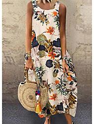 cheap -Women's Maxi Yellow Red Dress Boho Beach A Line Loose Abaya Print M L Loose