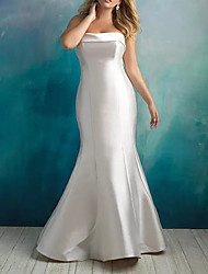 cheap -Mermaid / Trumpet Strapless Sweep / Brush Train Satin Sleeveless Country Plus Size Wedding Dresses with Draping 2020