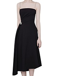 cheap -A-Line Straps Asymmetrical Polyester Bridesmaid Dress with Beading / Ruching