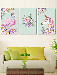 Недорогие -5 шт. Печать декоративной живописи масляной живописи дома декоративные настенные росписи на холсте 40x60 см x 3 животных цветочные