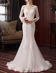 cheap -Mermaid / Trumpet Jewel Neck Sweep / Brush Train Lace Long Sleeve Beach Illusion Sleeve Wedding Dresses with Lace Insert / Embroidery 2020