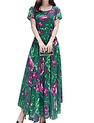 cheap -Women's Maxi Green Blue Dress Loose Print M L