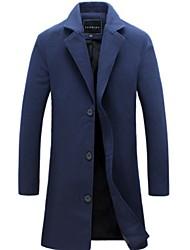 cheap -Men's Daily Regular Coat, Solid Colored Turndown Long Sleeve Polyester Black / Blue / Navy Blue