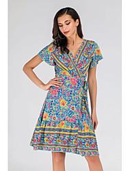 cheap -Women's Blue Dress A Line Sheath Floral V Neck S M