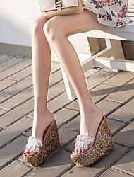 cheap -Women's Sandals Wedge Heel Open Toe PVC Summer Gold / Black