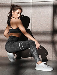 cheap -Women's Sports / Yoga Sporty / Basic Legging - Geometric, Sequins Mid Waist Blushing Pink White Black S M L
