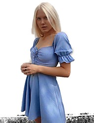 cheap -Women's A Line Dress - Solid Color Light Blue S M L