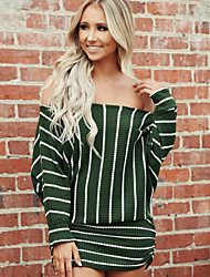 cheap -Women's Wine Green Dress A Line Striped Off Shoulder S M