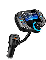 cheap -BT70 Bluetooth FM Transmitter with QC 3.0 Wireless In-Car Radio Adapter Handsfree Car Kit with 1.7 Inch Display and Dual USB Car Charger AUX Input TF Card Slot