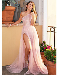 cheap -A-Line One Shoulder Sweep / Brush Train Sequined Sexy / Pink Prom / Formal Evening Dress with Sequin / Split 2020
