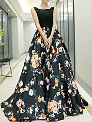 cheap -Ball Gown Jewel Neck Sweep / Brush Train Polyester Floral / Black Prom / Formal Evening Dress with Pattern / Print 2020