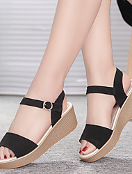 cheap -Women's Sandals Wedge Sandals Flat Sandal Spring & Summer Wedge Heel Peep Toe Casual Daily Outdoor Leather Black / Dusty Rose / Beige