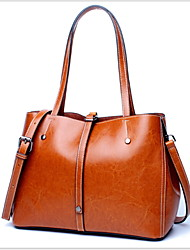 cheap -Women's Cowhide Tote Solid Color Brown