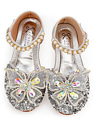 cheap -Girls' Flower Girl Shoes Synthetics Sandals Little Kids(4-7ys) / Big Kids(7years +) Bowknot / Sparkling Glitter / Buckle Silver Spring / Fall / Party & Evening / Color Block