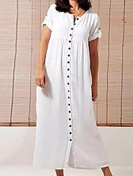 cheap -Women's White Black Dress Tunic Solid Color V Neck S M