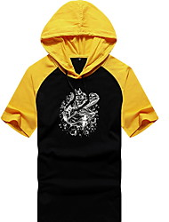 cheap -Men's Solid Colored T-shirt - Cotton Daily Hooded White / Black / Blue / Yellow / Gray / Short Sleeve